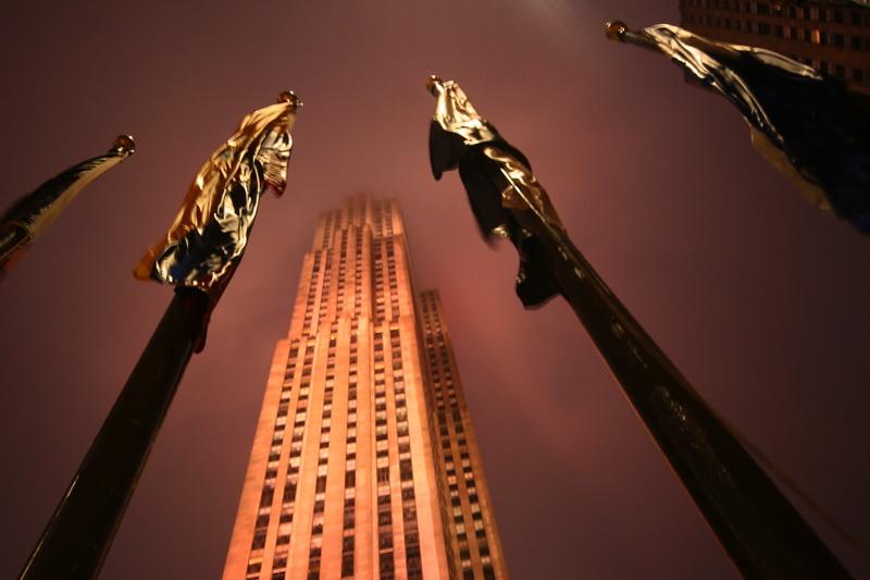 Rockefeller Center in una serata di pioggia