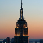 Empire State Building al tramonto vista dal Top of the Rock Observation Deck