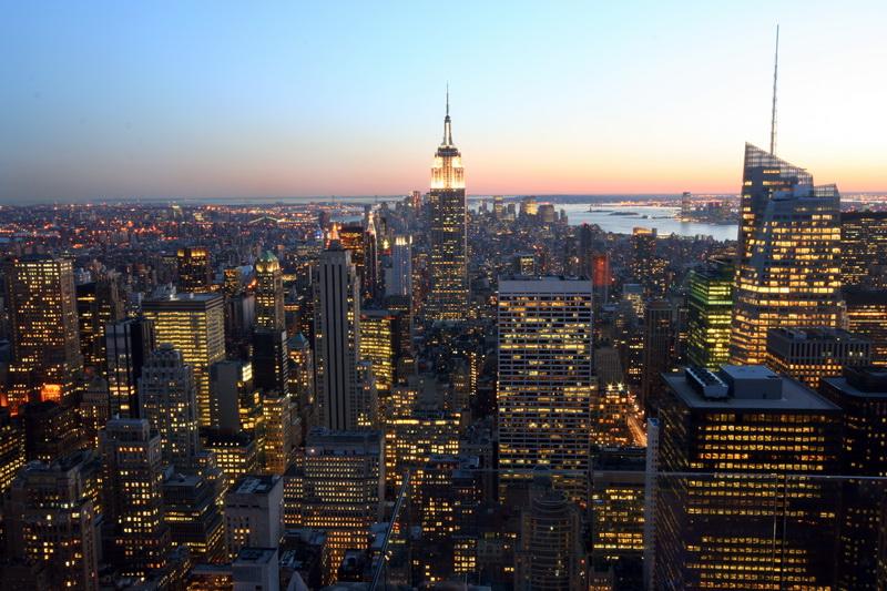 Manhattan al tramonto vista dal Top of the Rock Observation Deck