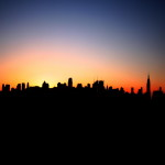 Lo skyline di Manhattan all'alba